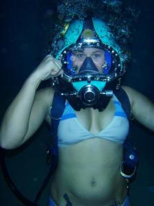 Bikini + Kirby Morgan dive helmet